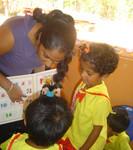 Mihiri working with kids at Missaka Preschool, Karadikkulama, Sri LAnka