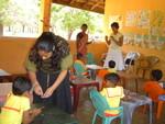 Mihiri and Charlini working with children at Emower a Village sponsored Missaka Pre School at Karakiddukalama village