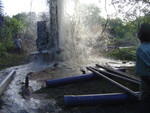 Water gushing out of during drilling of the Second tube well