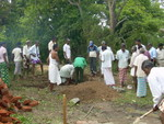 Villagers begin the construction of the pumping room