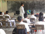 Deshan-introducing computer basics to students at Delwagura school, Western Province, Sri Lanka